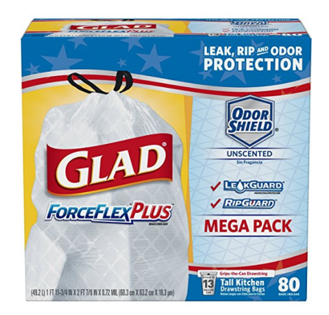 Pack of 80 - 13 gallon Glad trash bags