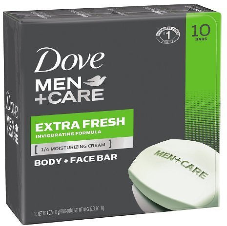 Pack of 10 Dove Men+Care Body & Face Bar