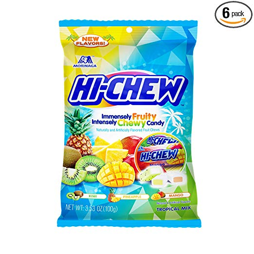 6-Pack 3.53oz. Hi-Chew Sensationally Chewy Fruit Candy (Tropical Mix)