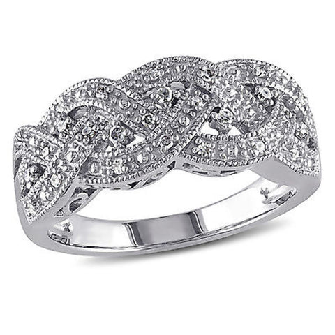 Amour Sterling Silver 1/8 CT TW Diamond Braided Fashion Ring