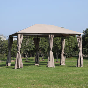 Outdoor Patio Gazebo Pavilion Canopy Tent with Curtains 10' x 13'