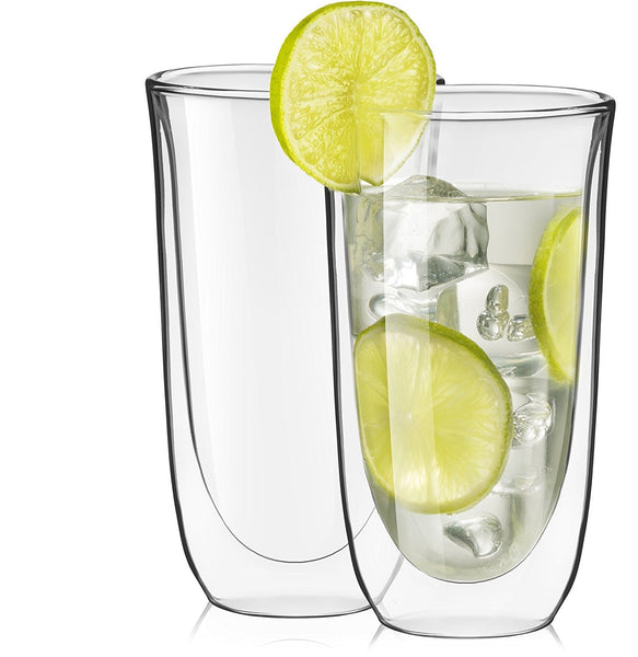 Set of 2 spike double wall glasses