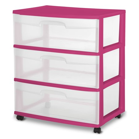 Sterilite 3 Drawer Wide Cart, Fuchsia Supreme, Single