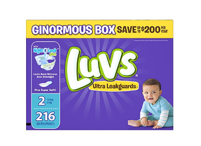 Luvs diapers sizes 1, 2 and 5