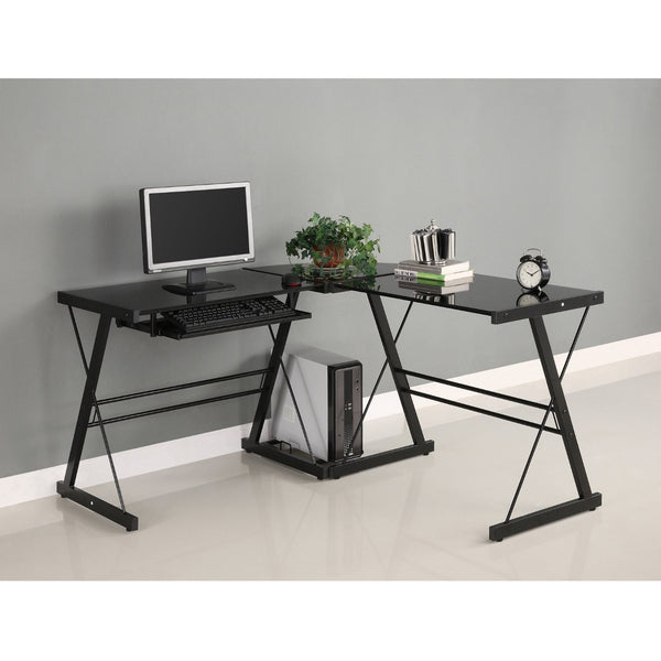 3-Piece Corner Desk, Black with Black Glass