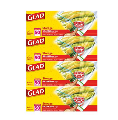 200 Glad Zipper Gallon Food Storage Bags