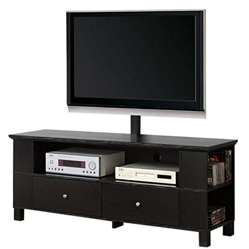 "58"" Black Wood TV Cabinet with Mount"