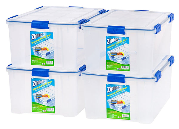 Ziploc WeatherShield 60 Quart Storage Box, 4 Pack