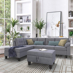 Left or Right Hand Chaise Sectional 3-Piece Sofa