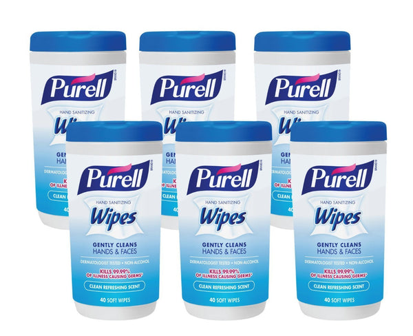 Pack of 6 Purell Hand Sanitizing Wipes, 240 count