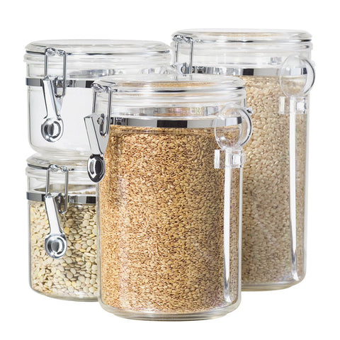 4-Piece Acrylic Canister Set with Airtight Lids and Acrylic Spoons