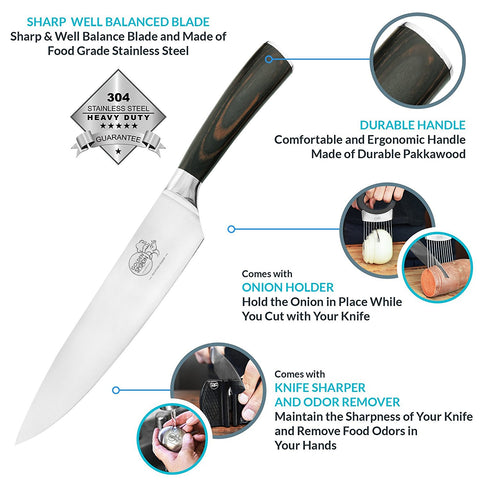8 inch chef knife, an onion holder, stainless steel odor remover and knife sharpener