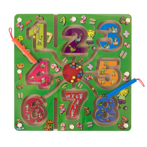 Wooden Number Maze-Colorful Zoo Animal Toy
