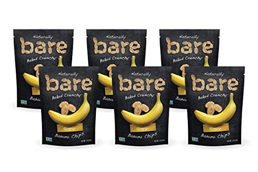 6 Bags Of 1.3oz Bare Baked Crunchy Banana Chips