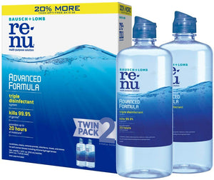 2 Bottles Of Bausch + Lomb ReNu Advanced Contact Lens Solution
