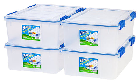 Pack of 4 Ziploc storage boxes