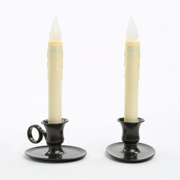 Set of 2 Flameless Ivory Drip Taper LED Candles
