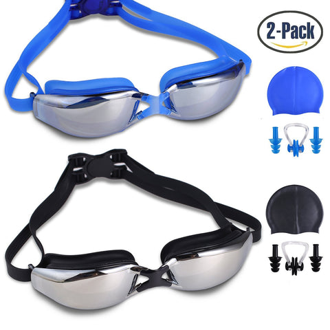 Pack of 2 anti fog goggles with nose clips, ear plugs & swimming caps