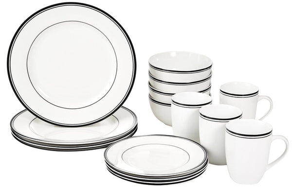 16-Piece Cafe Stripe Dinnerware Set, Service for 4