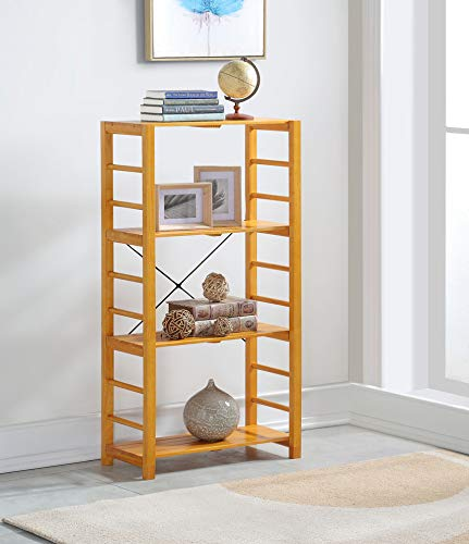 Oak Finish Solid Wood Frame 4 Tier Bookshelf
