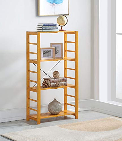 Oak Finish Solid Wood Frame 4-tier Bookshelf