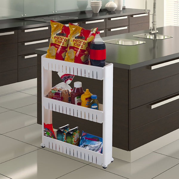 Mobile Shelving Unit Organizer with 3 Large Storage Baskets