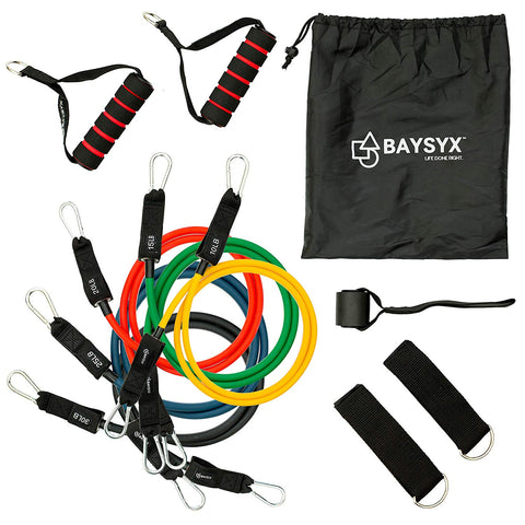 Set of 5 Tension Level Premium Circular Resistance Exercise Tube Bands With Bag & Training Guide