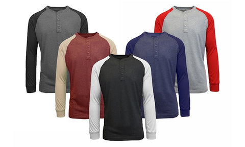 Men's Henley Raglan long sleeve tees