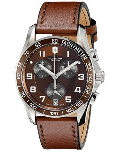 Victorinox Stainless Steel Watch with Brown Leather Band