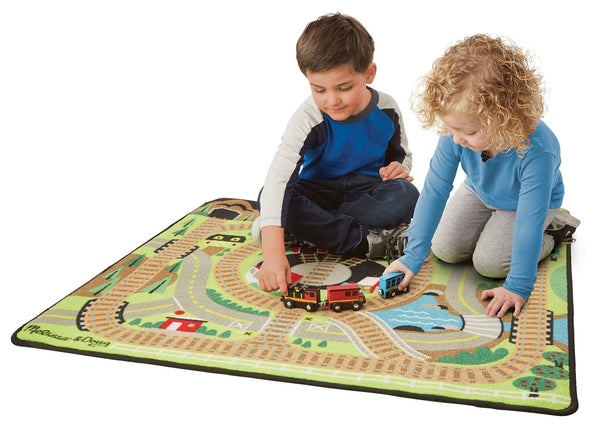 "Melissa & Doug Round the Rails Train Rug - 39"" x 36"""