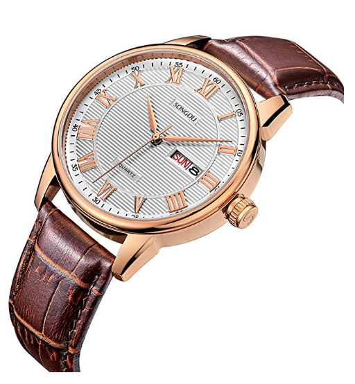 Quartz Watch with Brown Leather Band