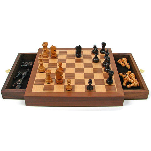 Walnut-Style Magnetized Wood Chess Set