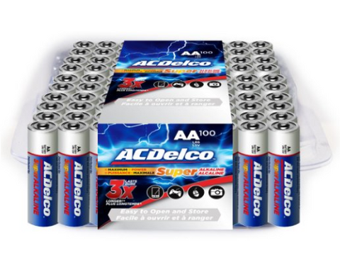 Pack of 100 ACDelco AA batteries