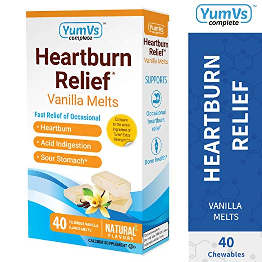 YUM-V's Complete Heartburn Relief, Antacid w/ Calcium Supplement (40 Ct)