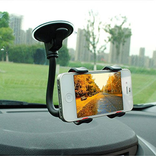 Rotating double clip dashboard phone holder