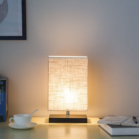 Solid wood and fabric shade lamp
