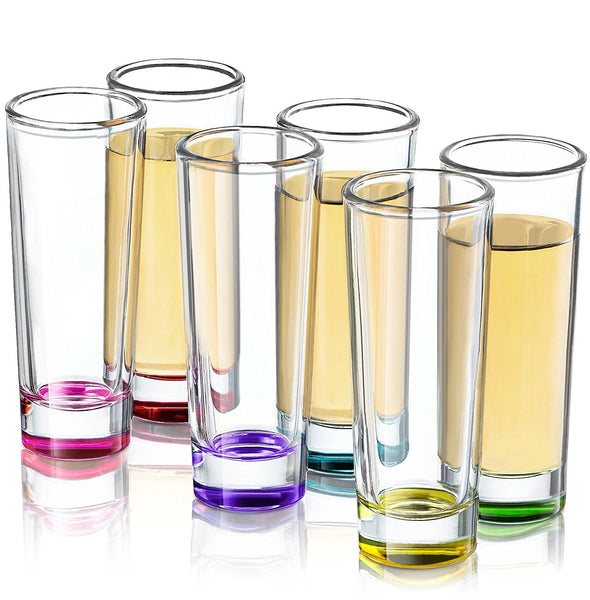 Set of 6 colored shot glasses