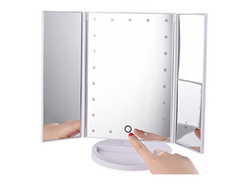 Tri-fold 21 LED makeup mirror