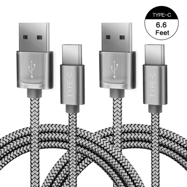 Pack of 2 braided USB-C to USB-A Cable with Cable Ties
