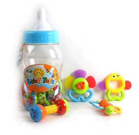 12 Piece Teething Toys Rattles & Shaking Bells (in Baby Bottle Package)
