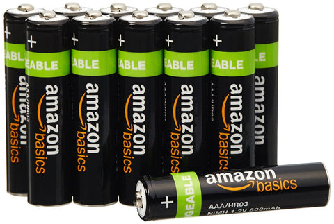 Pack of 12 AmazonBasics AAA Rechargeable Batteries