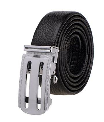 Leather men's buckle belt