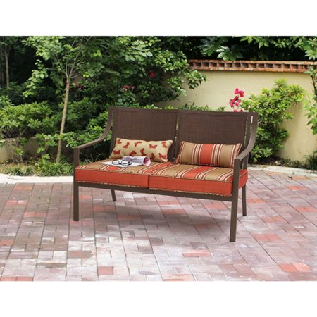 Mainstays Alexandra Square Patio Loveseat Bench (Orange Stripe)
