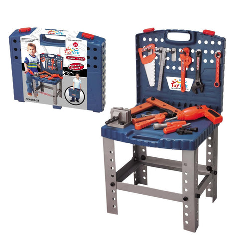 68 piece toy workbench with realistic tools and electric drill