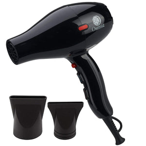 Professional Tourmaline Ionic Ceramic Blow Dryer with 2 Nozzle Attachments and Travel Bag