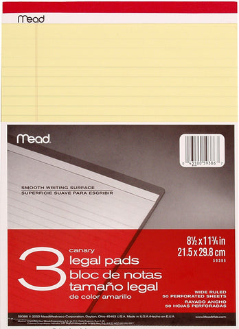 Pack of 3 Mead legal pads