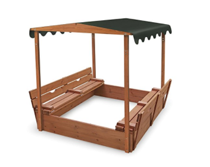 Sandbox with Canopy and Bench Seats