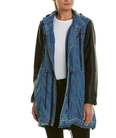Leather and denim parka