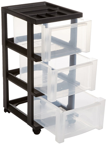 IRIS 3-drawer storage cart with organizer top