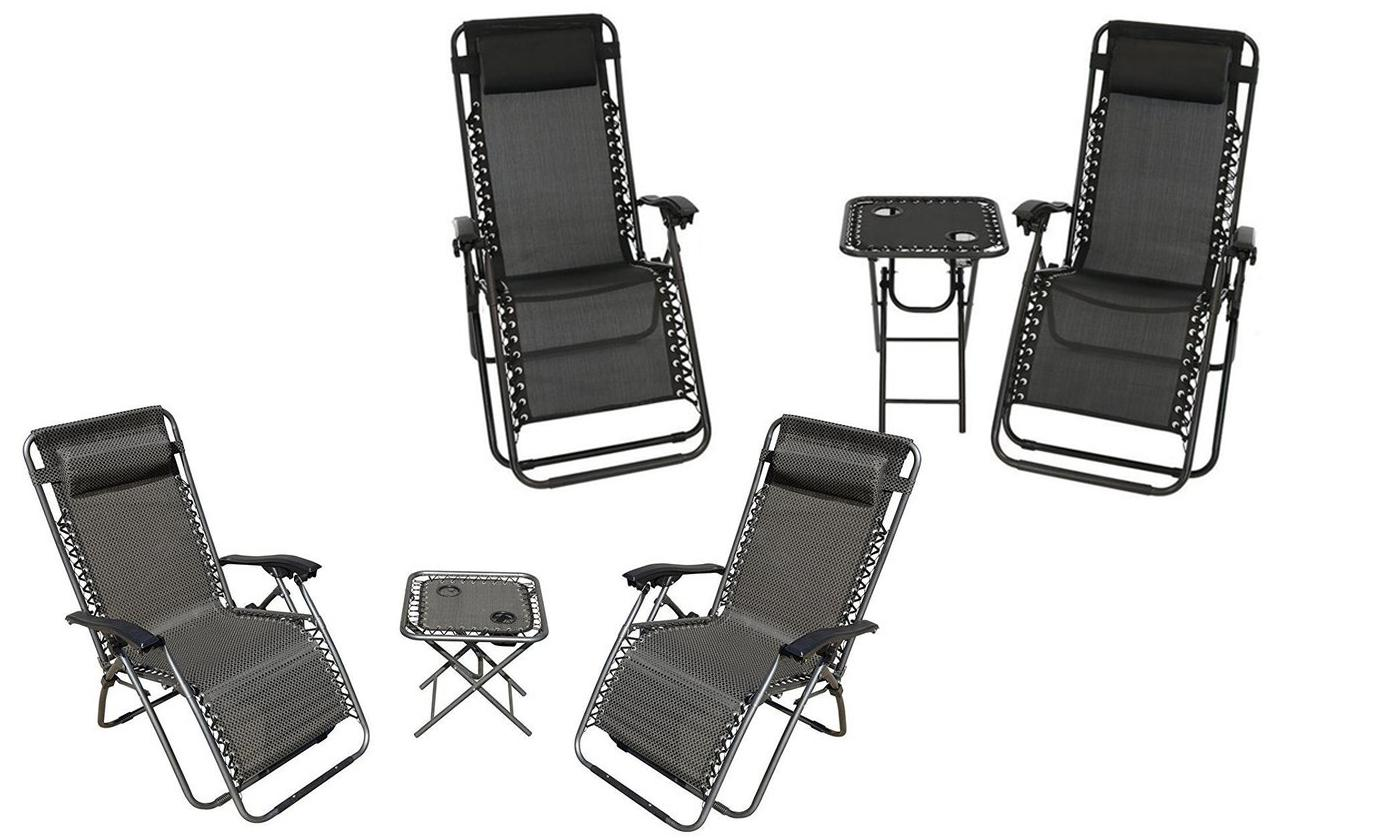 Zero Gravity Chairs And Folding Table With Cup Holder Set (3 Piece)